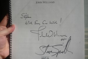 Stéphane's score of E.T., signed by composer John Williams and director Steven Spielberg